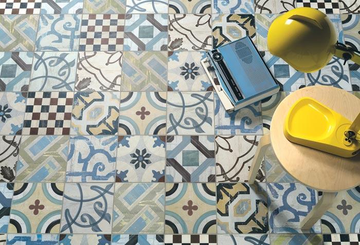 Stock piastrelle cementine cementine retro patchwork effect tile