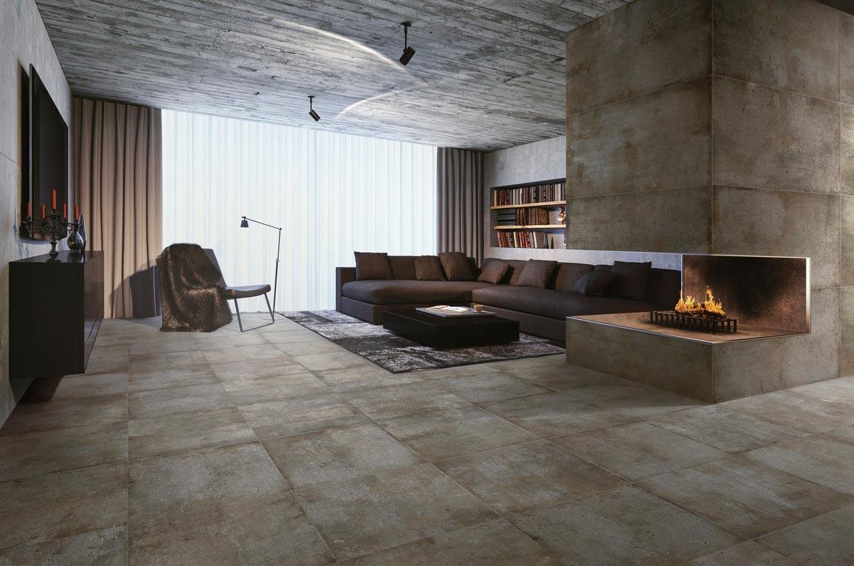 Grandi lastre, Pavimenti Ariostea Effetto pietra marrone da Ceramiche Santin